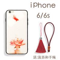 苹果XS Max手机壳iphoneXR玻璃壳8plus中国风7P古风i6S女款流苏iX