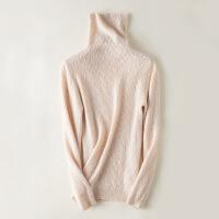 秋冬新款纯山羊绒衫女堆堆领纯色针织羊毛衫高领套头毛衣修身打底 米白色 S