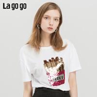 Lagogo/拉谷谷2019夏季新款甜美撞色亮丝短袖T恤女IATT315A07