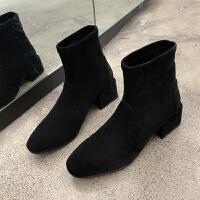 网红瘦瘦靴增高2019春季新款英伦百搭粗跟短筒中跟弹力尖头短靴女