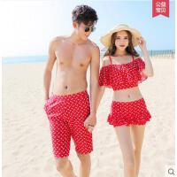 户外新款游泳衣女分体波点性感比基尼两件套 女泳衣 沙滩裤 男情侣套装