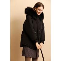 【下单领券立减120元】云上生活女装纯色休闲黑色大毛领外套气质连帽棉衣保暖外套M5403