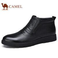 camel 骆驼男鞋 秋冬加绒保暖绒毛里真皮短靴牛皮休闲靴