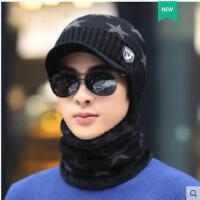 鸭舌帽针织帽骑行加厚防寒棉帽子男士帽子韩版潮时尚毛线帽保暖