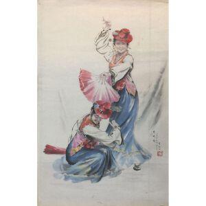 朝鲜水墨画 一级画家 金和成《扇子舞》【大千艺术品】