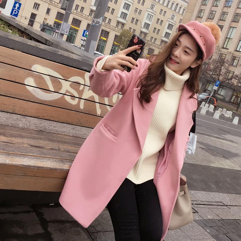 谜秀毛呢外套女2017秋冬装新款韩版茧型矮个子呢子大衣软妹外套潮茧型呢子外套