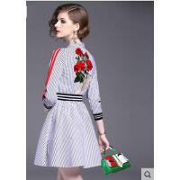 时尚刺绣连衣裙女装新款女气质显瘦短款条纹衬衫裙花色  可礼品卡支付