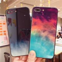 同款星空手机壳iphone7/8plus男女XR玻璃壳6s情侣套 6/6S 4.7 玻璃壳 黑白星空 送黑两用绳
