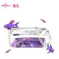 【支持礼品卡支付】Epiphqny重生甜美淑女紫色鱼印花pu银色手拿包时尚链