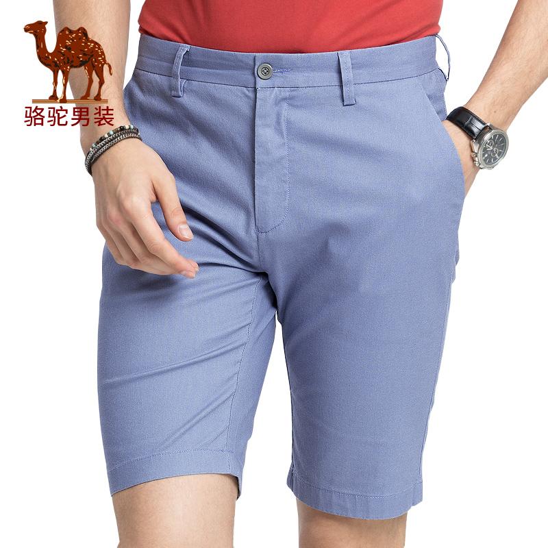 骆驼男装 夏季新款男青年纯色微弹中腰修身休闲短裤五分裤