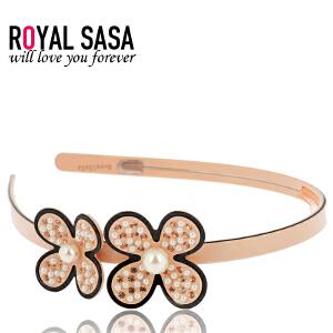 皇家莎莎RoyalSaSa韩版头饰时尚发卡手工人造水晶醋酸板材发箍发饰-蔷薇之恋