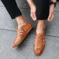 2019夏季新款男凉鞋手工鞋超纤皮运动鞋镂空舒适透气韩版时尚百搭