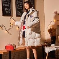 【1件5折339元叠加200-30】唐狮羽绒服冬季新款加厚女短款面包服立领纯色绑带韩版学生