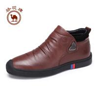 【每满100减50】骆驼牌男鞋 冬季男士舒适拉链短筒皮靴耐磨日常休闲