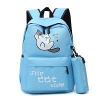 帆布书包女中学生韩版学院风初中生双肩包女--年级小学生书包大容量旅游包