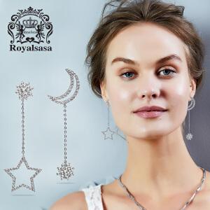 皇家莎莎925银针不对称耳钉女日韩版星星月亮仿水晶微镶耳环耳饰生日礼物