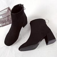 马丁靴女英伦风裸靴子女拉链短靴韩版百搭保暖加绒女棉靴冬季女鞋