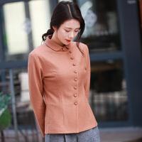 原创驼色羊毛呢外套女短款修身打底衫中国风复古上衣2018春装新款GH085