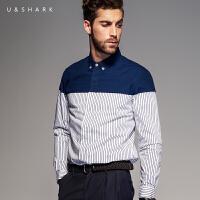 优鲨秋冬季衬衫男长袖纯棉修身男士衬衣时尚休闲拼接条纹韩版衬衫