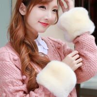 冬季皮草仿兔毛护腕毛毛袖口袖子套兔狐毛绒袖套大毛毛手圈手环