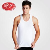 1件浪莎背心男 纯棉夏季运动无袖排汗男士修身打底汗衫黑色白色