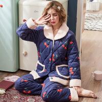 睡衣女秋冬季珊瑚绒夹棉三层加厚加绒保暖可爱女士冬天家居服套装 18838男 160(M)
