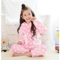女孩珊瑚绒连帽长袖保暖家居服套装儿童睡衣法兰绒女童宝宝