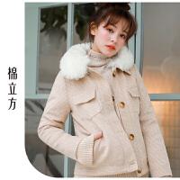 棉立方毛呢外套女短款学生2018冬装新款格子加绒加厚小个子呢大衣