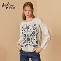 伊芙丽冬装长袖套头针织衫打底衫宽松刺绣羊毛毛衣女