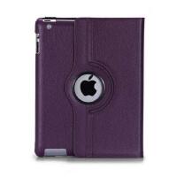 苹果ipad4保护套带休眠ipad2皮套旋转超薄iPad3可爱外壳 ipad234 通用 紫色
