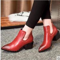 莫蕾蔻蕾高跟鞋女春秋新款铆钉粗跟尖头短靴欧美英伦风红色婚鞋单鞋6C020S