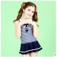 儿童游泳衣 中大童学生温泉泳装女童连体三角裙式 保守韩版时尚 可礼品卡支付