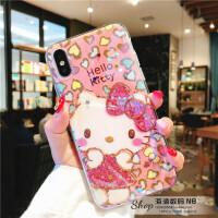 卡通kitty凯蒂猫可爱iphoneX手机壳蓝光镭射8plus苹果7水钻全包6s iPhone X 镶钻爱心KT