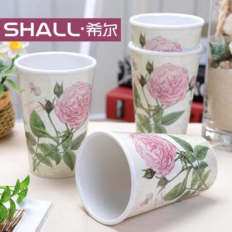 [当当自营]希尔SHALL 玛格丽特玫瑰系列3寸欧式水杯四件套 MGG8930 中国密胺翘楚 欧美标准制造 经久耐用 居家必选