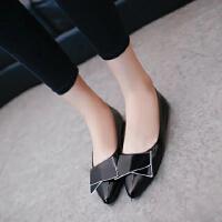 蝴蝶结单鞋女红色漆皮春秋季新款潮尖头平底浅口平跟黑色工作女鞋