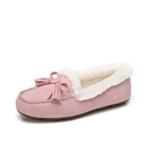 骆驼牌女鞋 2017冬季新款甜美平底休闲豆豆鞋流苏蝴蝶结甜美女鞋