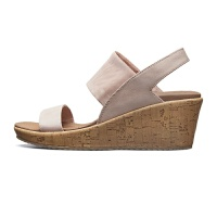 夏新品时尚原木色坡跟鞋 一字带凉鞋女