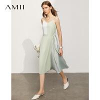 【2件3折179元,再叠90/70/30元礼券】Amii极简法式气质撞色连衣裙2021夏新款V领吊带修身显瘦中长裙女