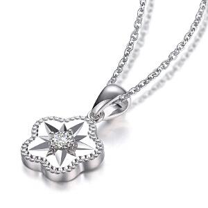 罗曼蒂珠宝白18K金钻石吊坠女新款时尚简约钻石项坠项链定制铂金需定制