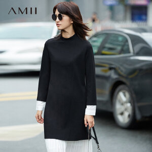 Amii极简设计感通勤假两件连衣裙女2018秋装新款拼接长袖立领裙子