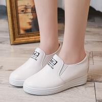内增高单鞋女休闲鞋2019新款鞋子百搭一脚蹬季女鞋 白色 610字母