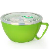 【当当自营】美厨(maxcook)304不锈钢泡面碗 900ml 双层隔热(绿色)MCWA-018 防漏 带盖 防烫