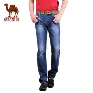 骆驼&熊猫联名系列男装时尚青年流行合体直筒中腰牛仔裤长裤子男