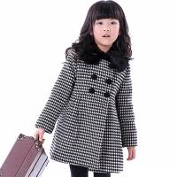 童装6-13岁女童毛呢外套儿童格子大衣