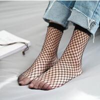 4双渔网袜短袜女鱼网袜韩国网眼袜欧美网格丝袜日系中筒黑色夏季
