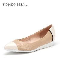 菲伯丽尔(Fondberyl) 羊皮坡跟尖头时尚单鞋FB61111051