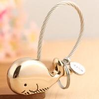 情侣钥匙扣一对男女鲸鱼钥匙链汽车钥匙挂件创意简约圈环韩国可爱 浅金色 (单只礼盒装)