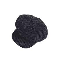 帽子冬天男女保暖八角帽百搭休闲格子贝雷帽韩版复古英伦鸭舌帽潮 黑白 M(56-58cm)