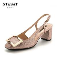 星期六(ST&SAT)专柜同款粗跟圆头时尚单鞋SS81114259