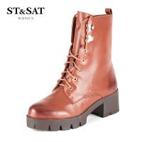 星期六(ST&SAT) 牛皮革粗跟圆头时尚短靴马丁靴SS54112997